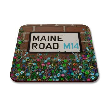Jo Gough - MCFC Maine Road Sign with flowers Coaster