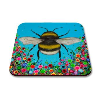 Jo Gough - Bumble Bee with flowers Coaster