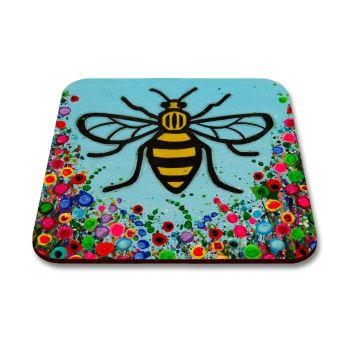 Jo Gough - Manchester Bee with flowers Coaster
