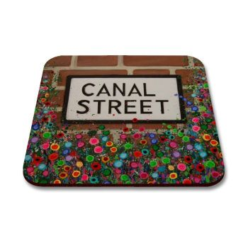 Jo Gough - Canal Street Sign Manchester with flowers Coaster