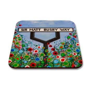 Jo Gough - MUFC Sir Matt Busby Way Sign with flowers Coaster