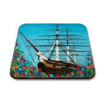 Jo Gough - Cutty Sark Greenwich with flowers Coaster