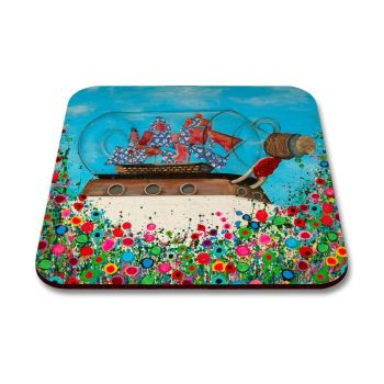Jo Gough - Ship in a Bottle Greenwich with flowers Coaster