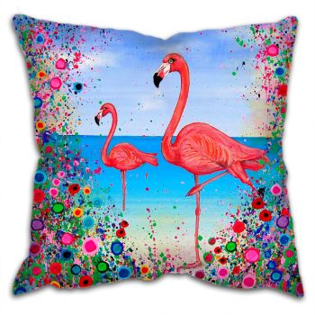 Jo Gough - Flamingos with flowers Cushion