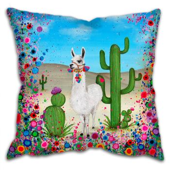 Jo Gough - Llama with flowers Cushion