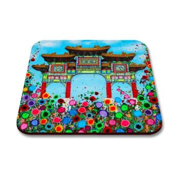Jo Gough - Manchester Chinese Arch with flowers Coaster