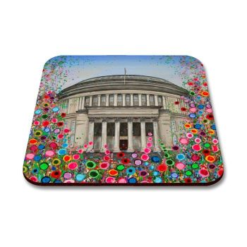 Jo Gough - Manchester Central Library with flowers Coaster