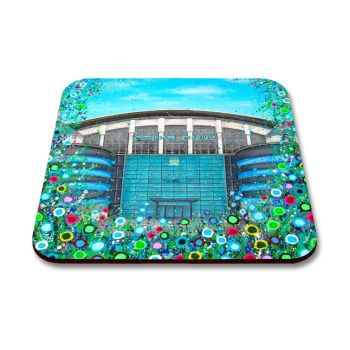 Jo Gough - MCFC Etihad Stadium with flowers Coaster