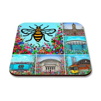Jo Gough - Manchester Landmarks with flowers Coaster