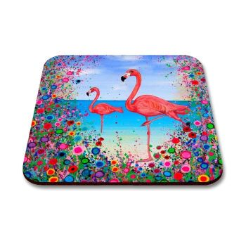 Jo Gough - Flamingos with flowers Coaster