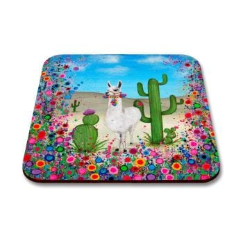 Jo Gough - Llama with flowers Coaster