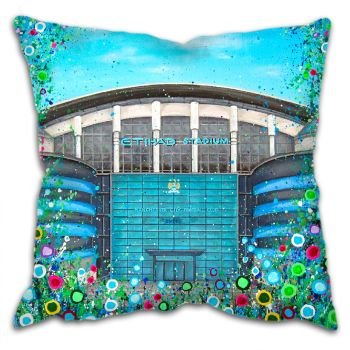 Jo Gough -  MCFC Etihad Stadium with flowers Cushion