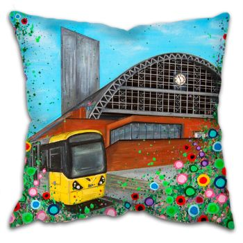 Jo Gough -  GMEX Manchester with flowers Cushion