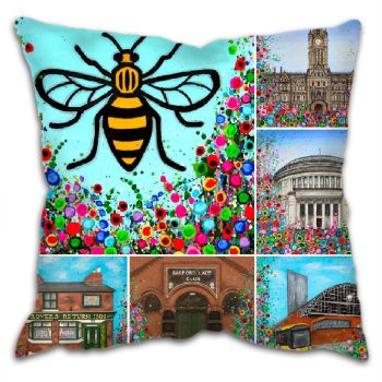 Jo Gough - Manchester Landmarks with flowers Cushion