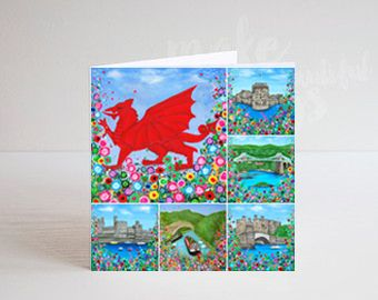 Jo Gough - Welsh Montage Greeting Card