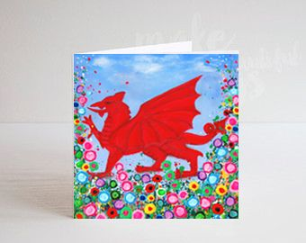 Jo Gough - Welsh Dragon with flowers Greeting Card
