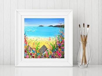 Jo Gough - Abersoch Beach with flowers Print From £10