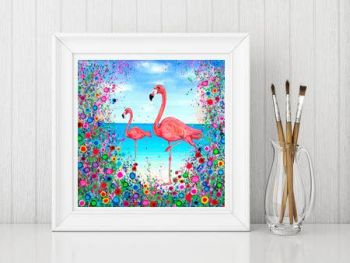 Jo Gough - Flamingo with flowers Print From £10