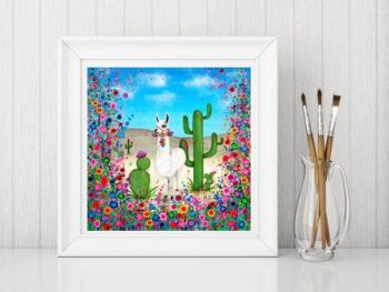Jo Gough - Llama with flowers Print From £10