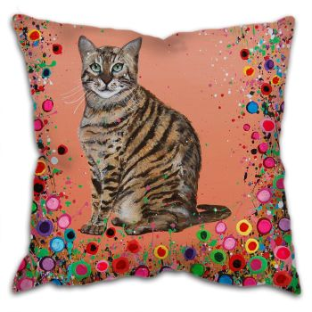 Jo Gough - Cat with flowers Cushion