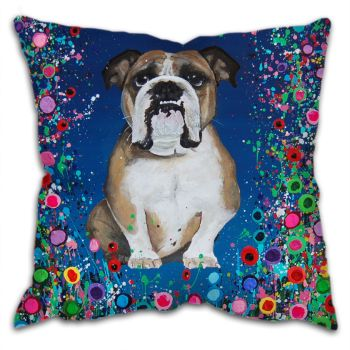 Jo Gough - Bull Dog with flowers Cushion