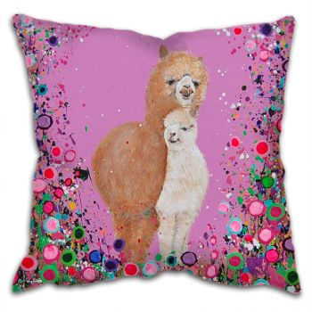 Jo Gough - Alpacas with flowers Cushion