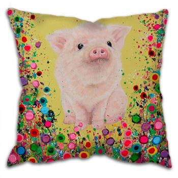 Jo Gough - Piglet with flowers Cushion