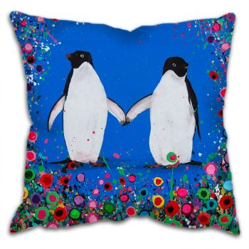 Jo Gough - Penguin with flowers Cushion