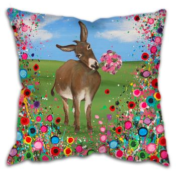 Jo Gough - Donkey with flowers Cushion