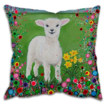 Jo Gough - Welsh Lamb with flowers Cushion