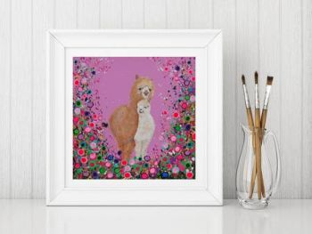 Jo Gough Alpacas with flowers Print From £10