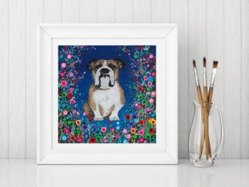 Jo Gough - Bull Dog with flowers Print From £10