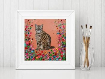 Jo Gough - Cat with flowers Print From £10