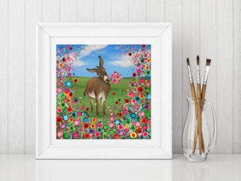 Jo Gough - Donkey with flowers Print From £10