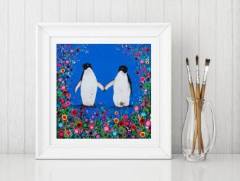 Jo Gough - Penguin with flowers Print From £10