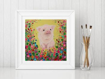 Jo Gough - Piglet with flowers Print From £10