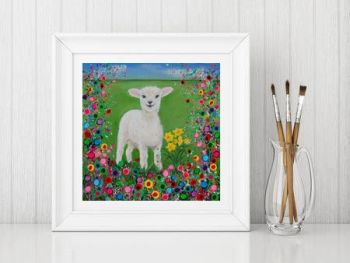 Jo Gough - Welsh Lamb with flowers Print From £10