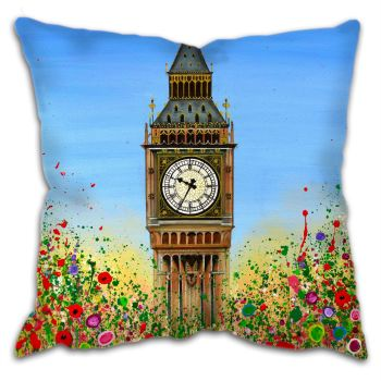 Jo Gough - Big Ben London with flowers Cushion