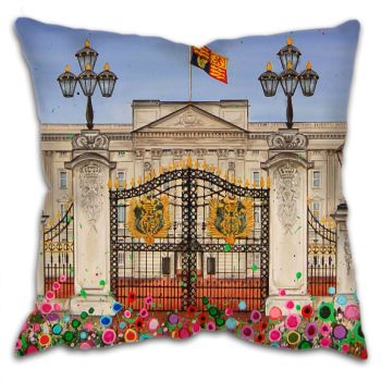 Jo Gough - Buckingham Palace London with flowers Cushion