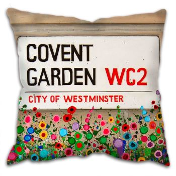 Jo Gough - Covent Garden St Sign London with flowers Cushion