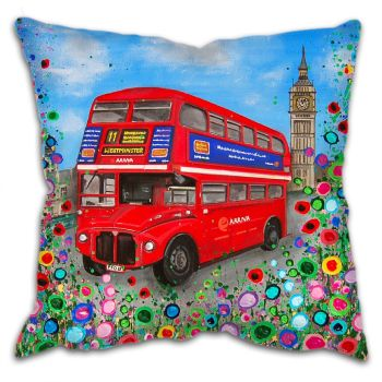 Jo Gough - Red London Bus with flowers Cushion