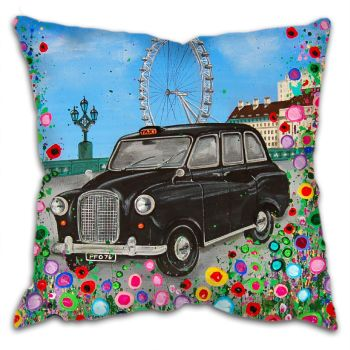 Jo Gough - Black London Taxi with flowers Cushion