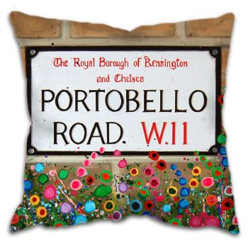 Jo Gough - Portobello Road Sign London with flowers Cushion