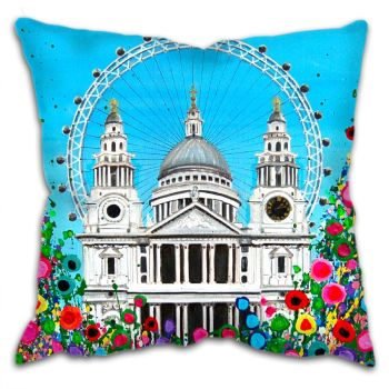 Jo Gough - St Pauls Cathedral & London Eye with flowers Cushion
