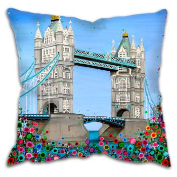 Jo Gough - Tower Bridge London with flowers Cushion