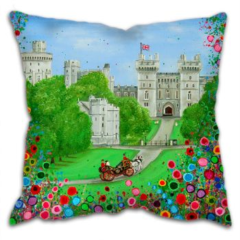 Jo Gough - Windsor Castle London with flowers Cushion