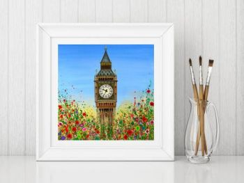 Jo Gough - Big Ben London with flowers Print From £10