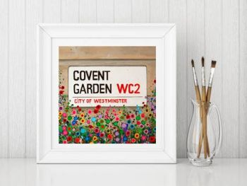 Jo Gough - Covent Garden St Sign with flowers Print From £10