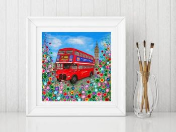 Jo Gough - Red London Bus with flowers Print From £10