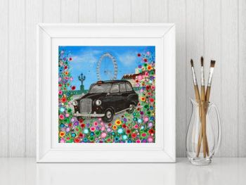 Jo Gough - Black London Taxi with flowers Print From £10